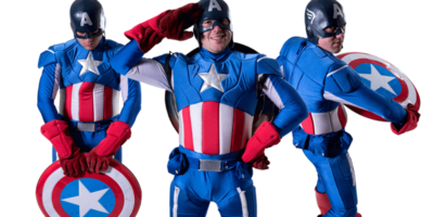 Image of Captain America kids party entertainer n Sydney from Superheroes Inc