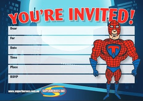 Free download Superhero themed birthday party invitation