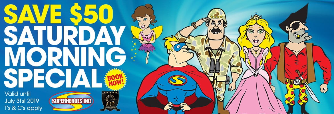 Superheroes Inc Kids party entertainment Saturday AM special offer