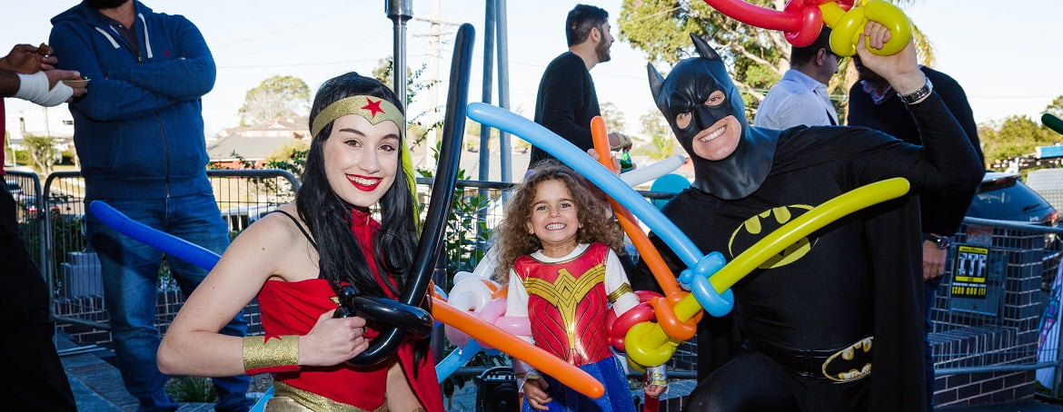 Image of Wonder Woman and Batman kids party entertainers in Sydney from Superheroes Inc