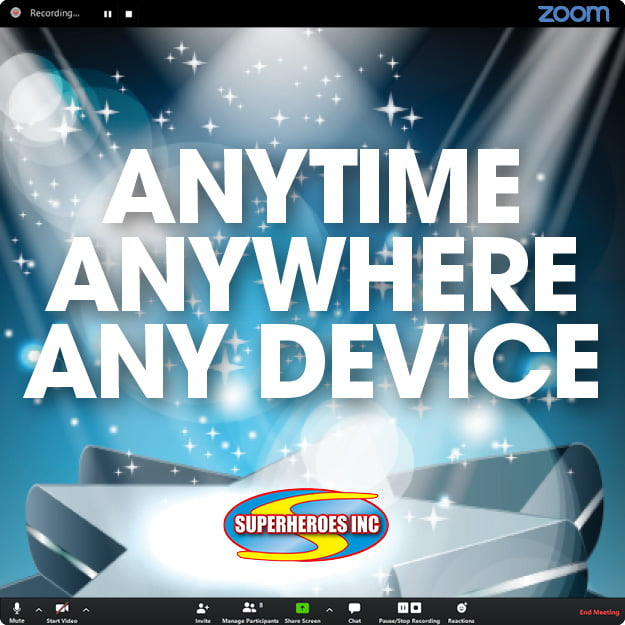 Zoom Virtual Party Entertainment - Superheroes Inc