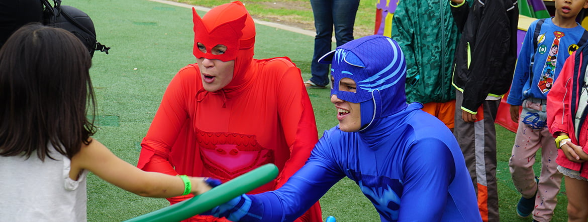 PJ Masks birthday party characters Owlette and Catboy