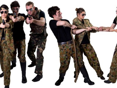 Image of combat crew part entertainers in Sydney from Superheroes