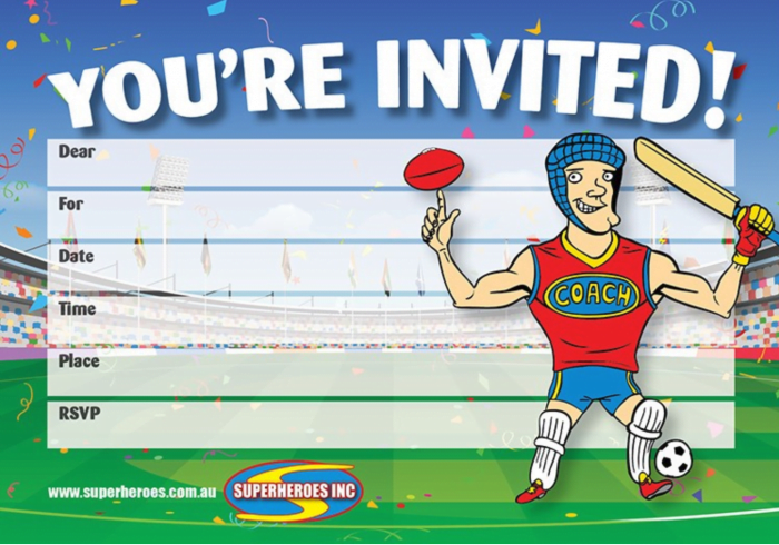Image of sports birthday party free downloadable invitation from Superheroes Inc.