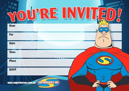 Image of Free download Superhero Themed Kids Birthday Party Invitation
