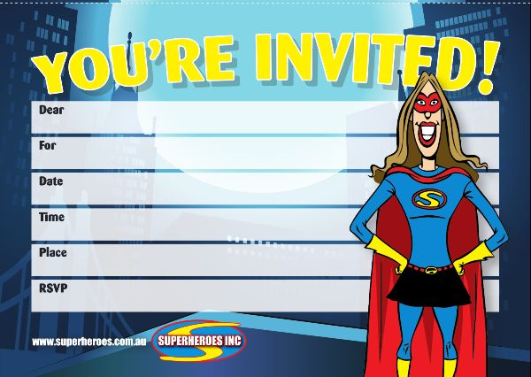 Image of Supergirl free downloadable birthday party invitation
