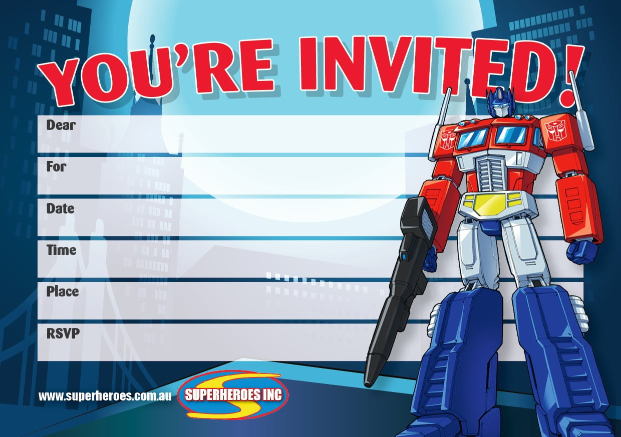 Image of Free Downloadable Transformers Optimus Prime birthday party invitations