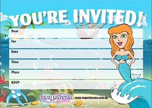Free downloadable Ariel Mermaid Birthday Party Invitation Superheroes Inc