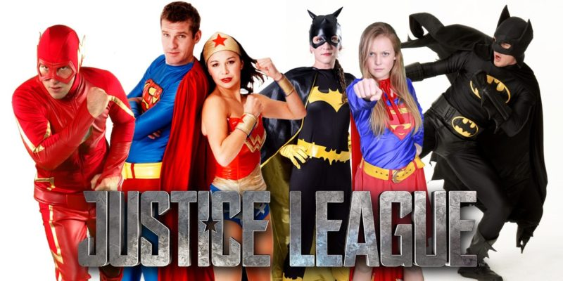 Justice league birthday party entertainers Flash Superman Wonder Woman Batgirl Supergirl Batman in Sydney from Superheroes Inc