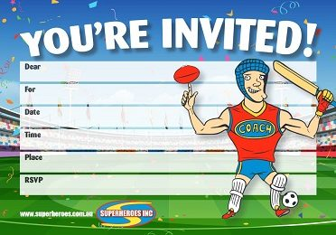 Free downlaod Sports themed birthday party invitation
