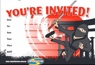 Free download Ninja themed birthday party invitation