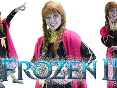Frozen themed birthday party entertainment characters Sydney Anna