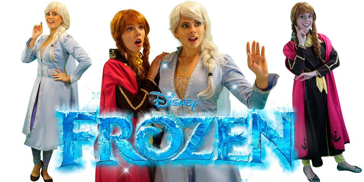 Frozen themed birthday party entertainment characters Sydney Elsa and Anna